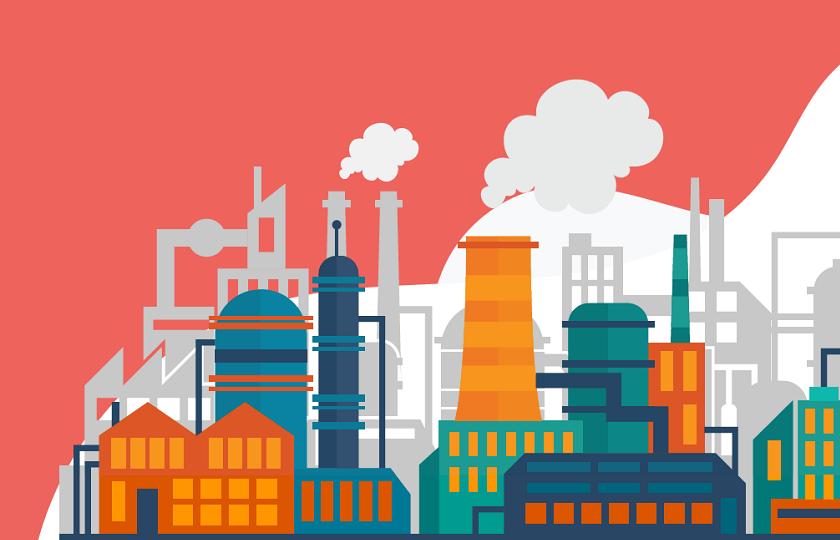 Infografía de una fábrica
