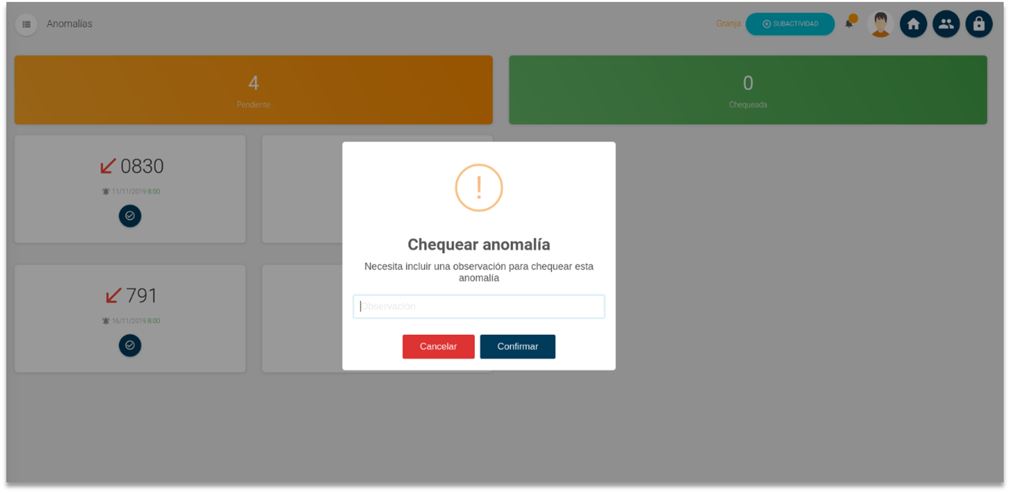 Detección de anomalías, chequeo manual