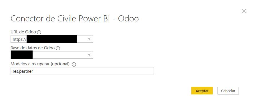 Interfaz de parámetros del conector Power BI